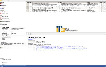Trix RasterServer User Interface Screenshot