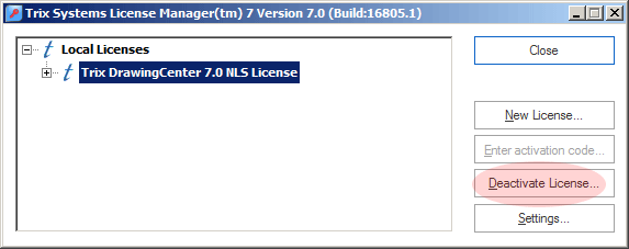 Screenshot of License Manager