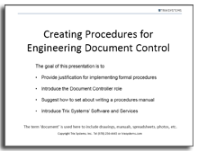 Creating procedures for engineering document control cover